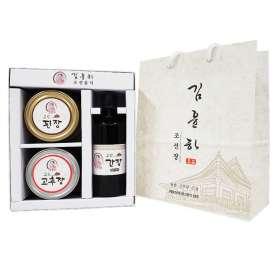 [전통백두된장] 조선장류세트 (간장300ml+된장450g+고추장450g)